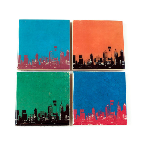 Philadelphia Skyline Sports Colors Coaster Set