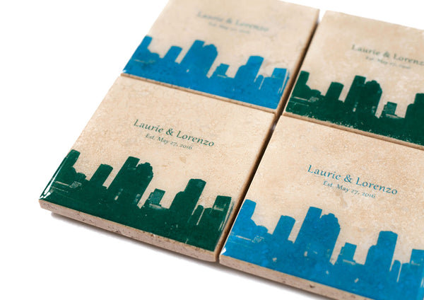 Personalized Houston Skyline Coasters for Wedding