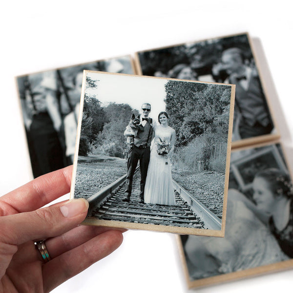 Black and White Custom Photo Coasters