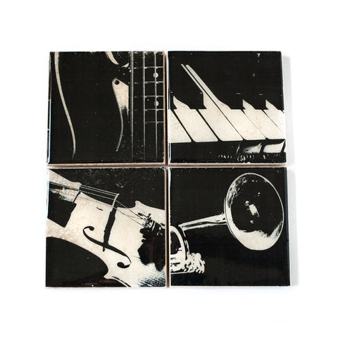 Music Coaster Set in Black and White