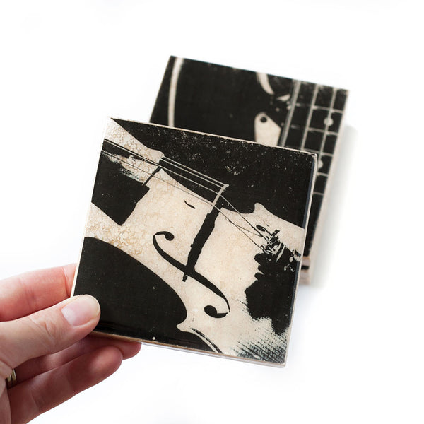 Violin Coaster Black and White
