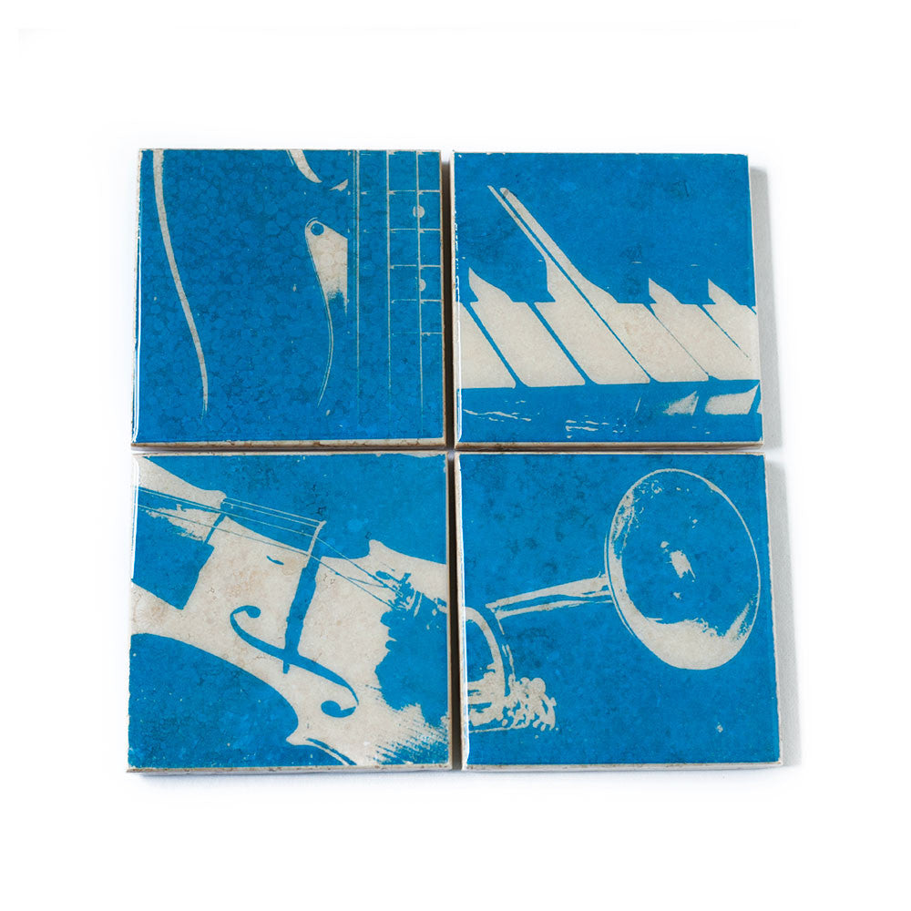 Music Coaster Set Blue and White