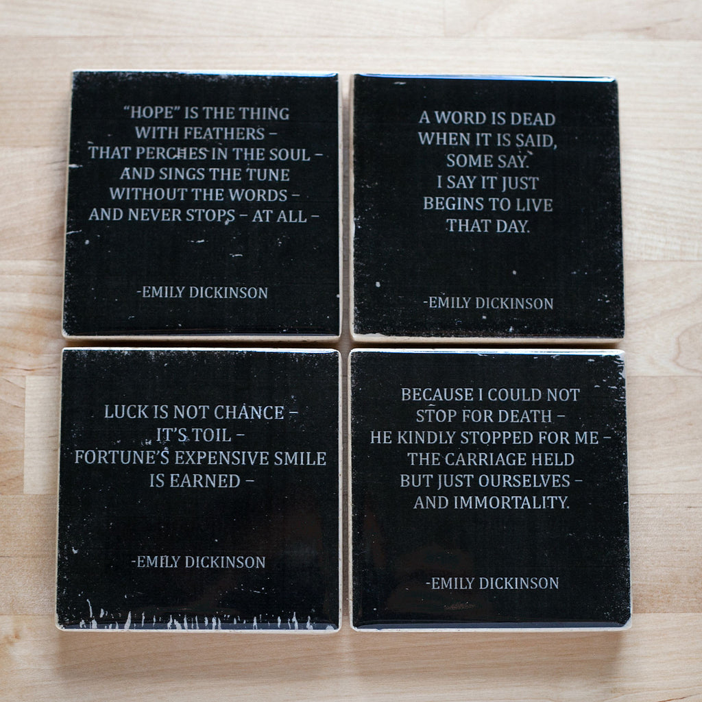 Emily Dickinson Quotes Coaster Set Ink The Print