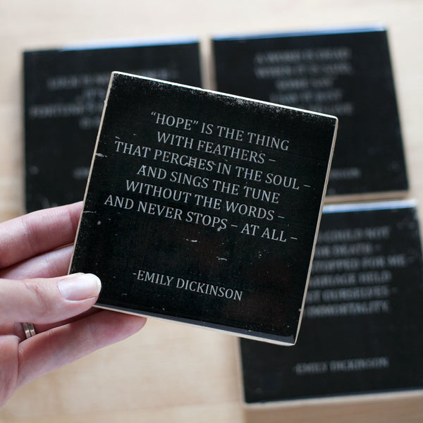Emily Dickinson Hope Quote Coaster