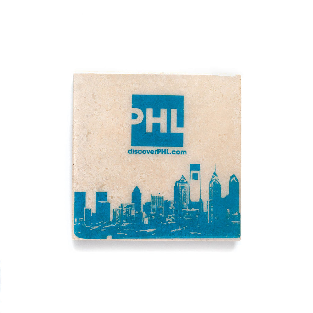 PHL Logo with Philadelphia Skyline on Coaster