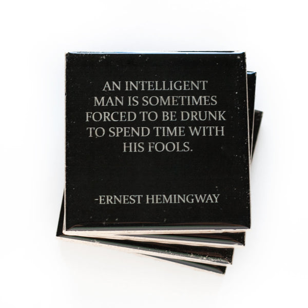 Hemingway Drinking Quote Coaster