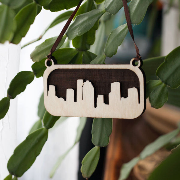Houston Skyline Wood Ornament