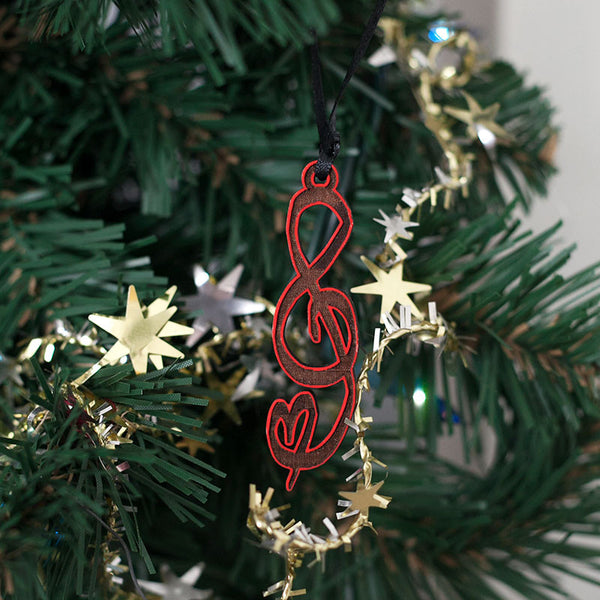 Red Treble Clef Ornament