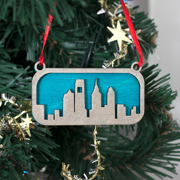 Silver and Blue Philadelphia Tree Ornament