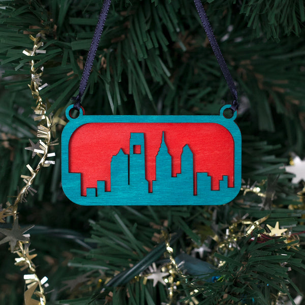 Philly Skyline Ornament Red and Blue