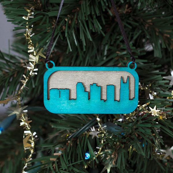 Nashville Tree Ornament Silver and Blue