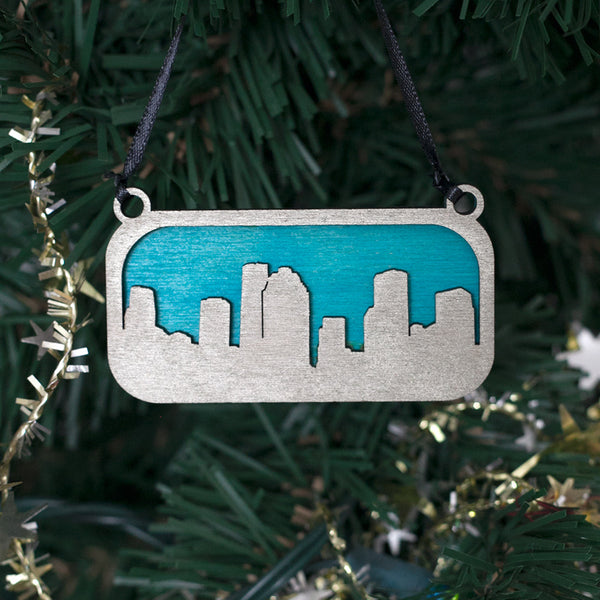 Houston Ornament Silver and Blue