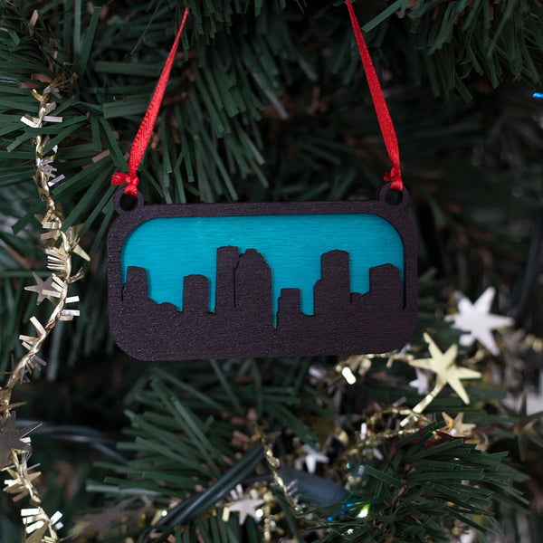 Houston Texas Ornament Black and Blue