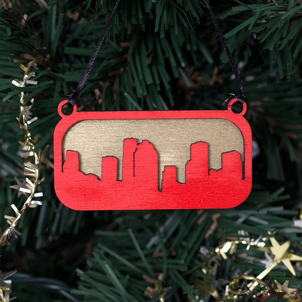 Houston City Skyline Christmas Tree Ornament Red and Gold