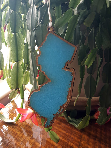 Blue Laser Cut NJ Ornament