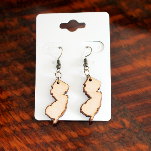 NJ state earrings New Jersey laser cut wood Jewelry