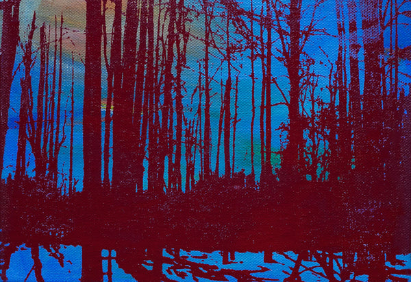 Blue and Red Trees & Shadows Print