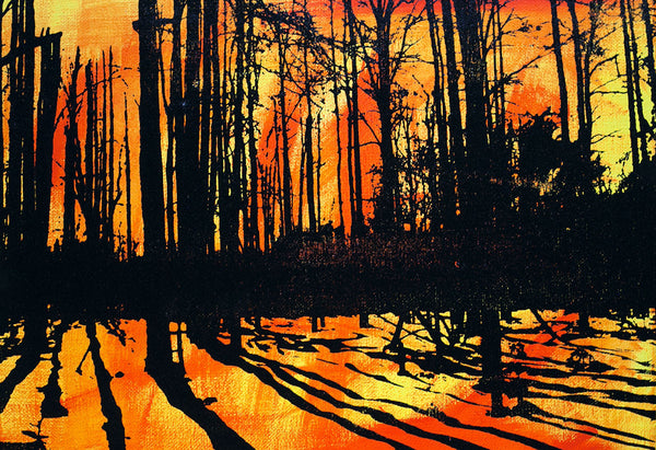 Orange, Yellow, and Black Tree Print