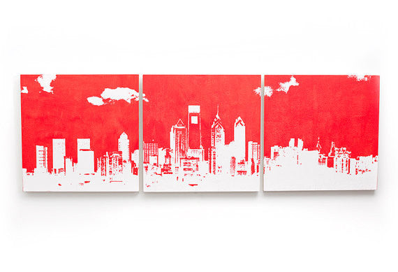 Philadelphia Skyline Red and White Large Wall Art