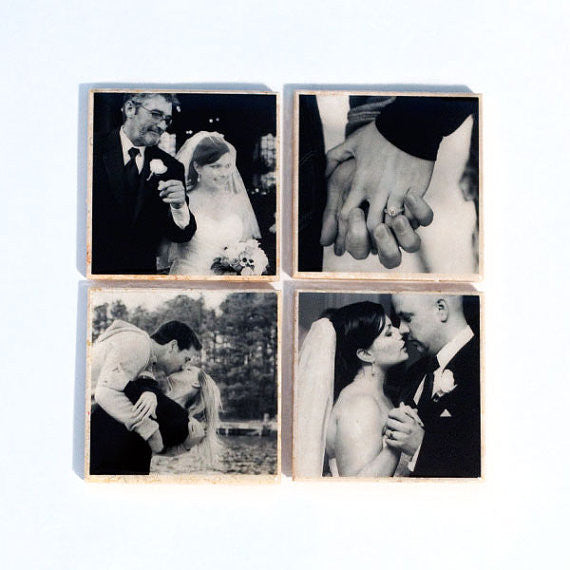 Custom Photo Coasters in Black and White