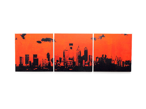 Philly Skyline Orange and Black Home Decor