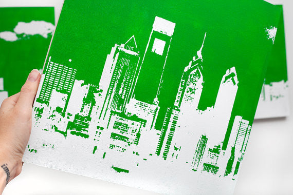 Philadelphia Skyline Green and White Art