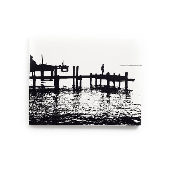 Chesapeake Bay Canvas Wall Art Black and White
