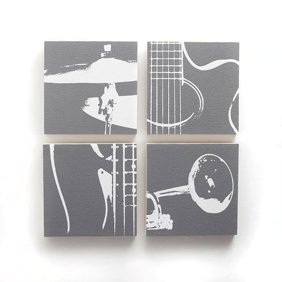Musical instrument screen print on wood