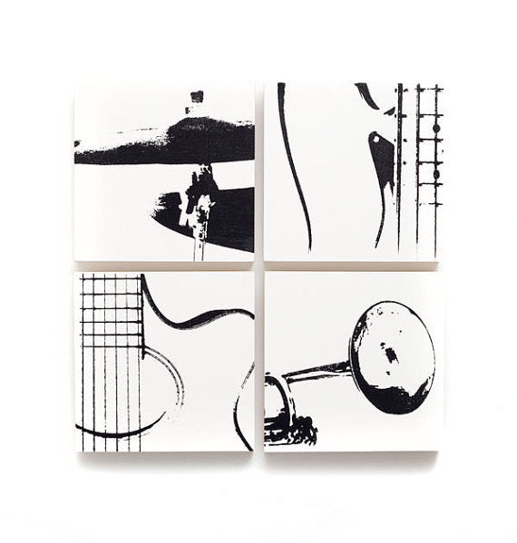 Acoustic Guitar, Cymbal, Electric Bass, and Trumpet Decor