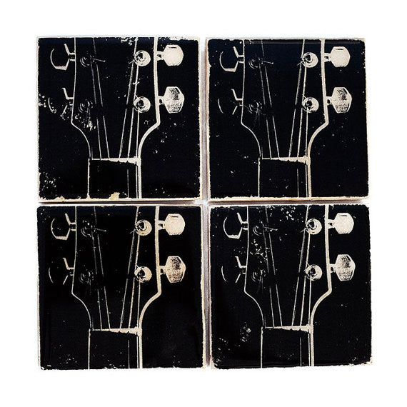 Black and White Guitar Coaster Set