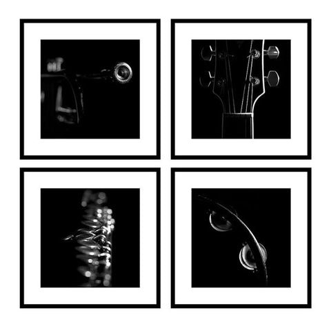 Musical Instrument Photograph Set of 4 Black and White Fine Art