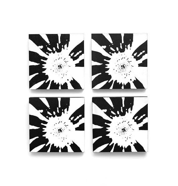 Abstract Flower Wall Art Set of 4 <br>(12 x 12 inches each)