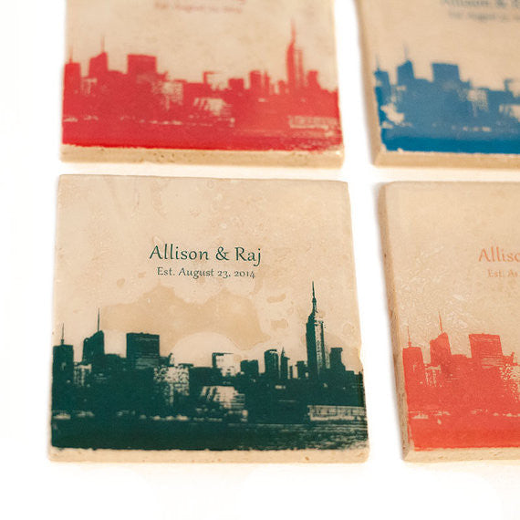 Personalized City Skyline Coasters with Custom Text