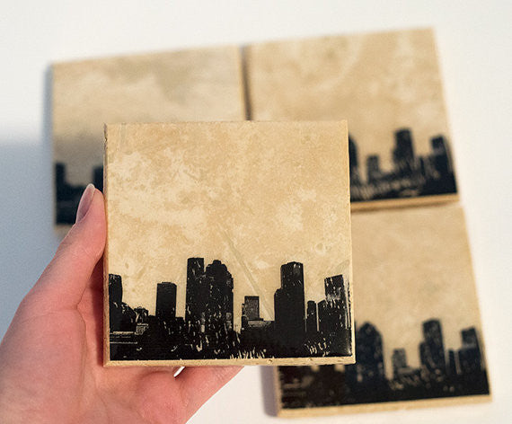 Houston Skyline Coaster Set
