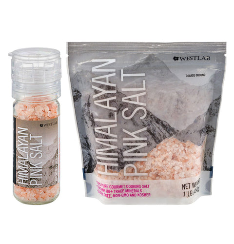 Himalayan Pink Salt - 4oz. Glass Grinder and 1lb. Refill Pouch