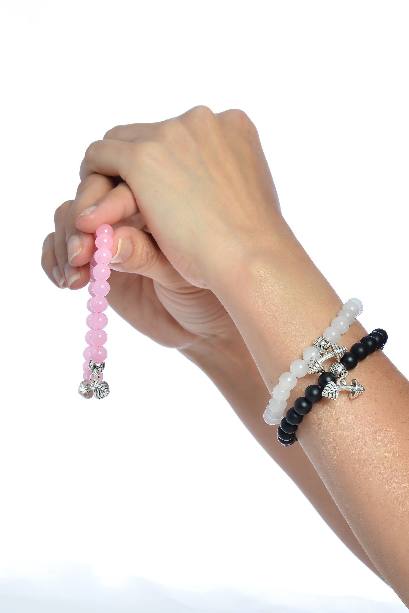 Fashion Natural Gemstone Beads Fitness Dumbbell Stretchable Bracelets Fit all Men & Women