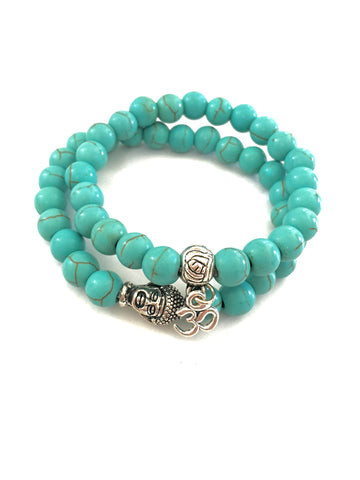 Natural Gemstone Turquoise Beads Yoga Stretchable Bracelet