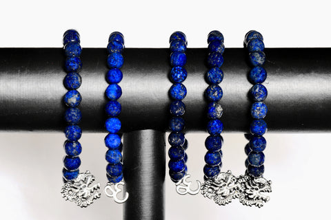 Natural Gemstone Beads Lapis Lazuli Stretchable Bracelet Dragon & OM  Feng Shui 2017