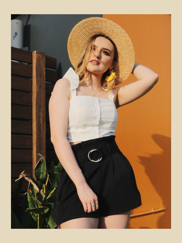 crop top ootd straw hat