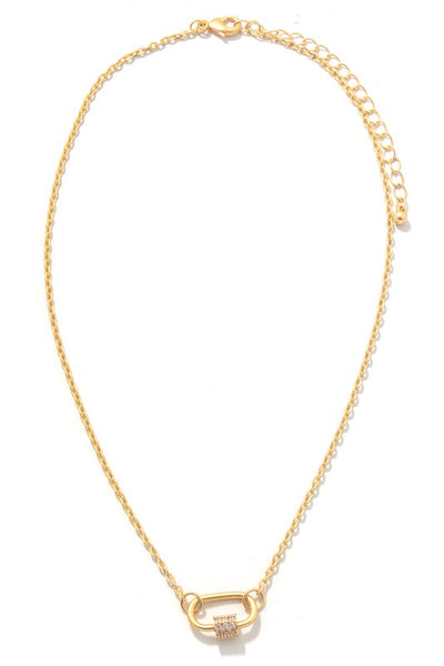 OVAL LOCK CHAIN NECKLACE