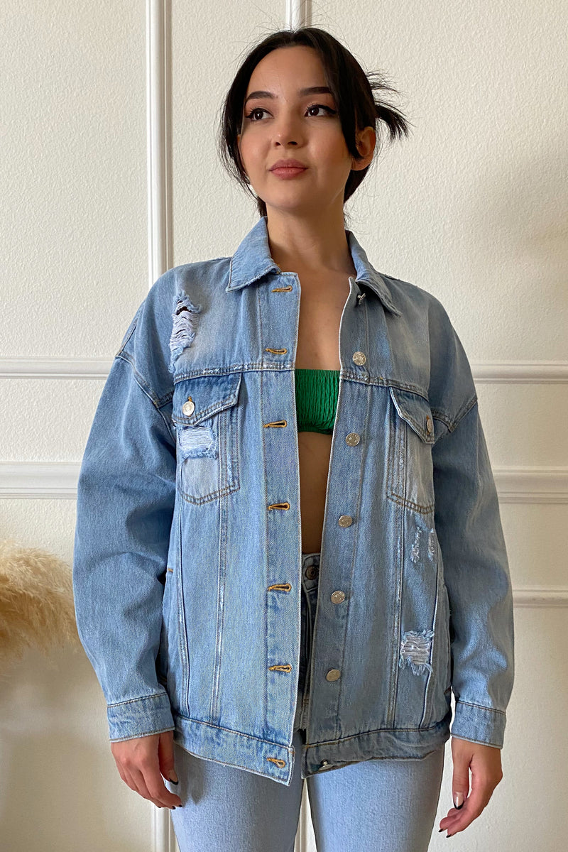 LIGHT DENIM CROPPED JACKET