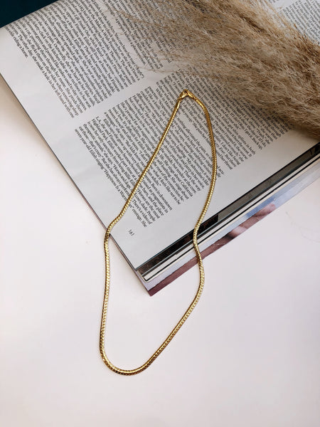 24K GOLD FILLED HERRINGBONE NECKLACE
