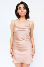 CHAMPAGNE SATIN SLIP DRESS
