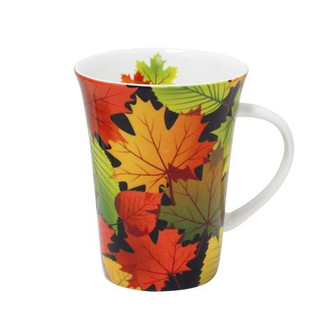 Fall Leaves Black Porcelain Tea Mug