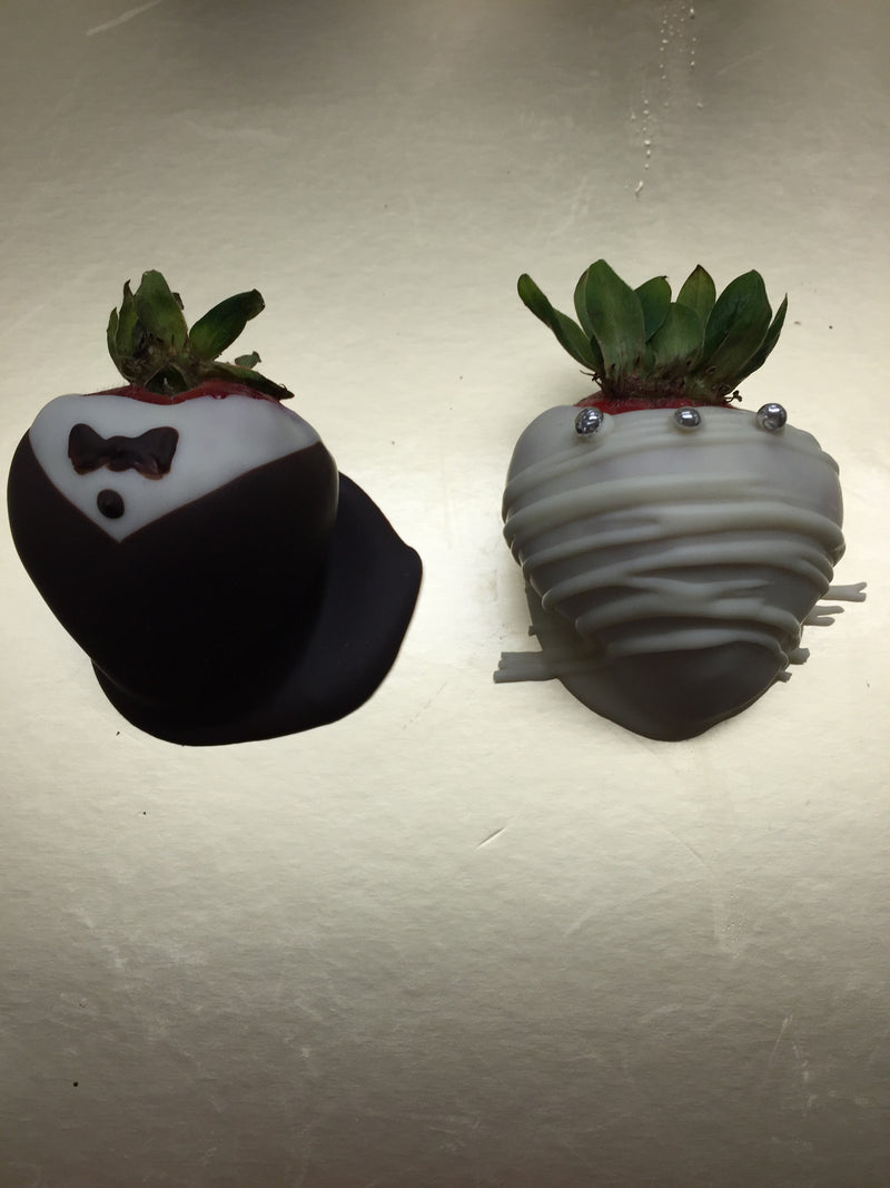Chocolate Covered Bride And Groom Strawberries