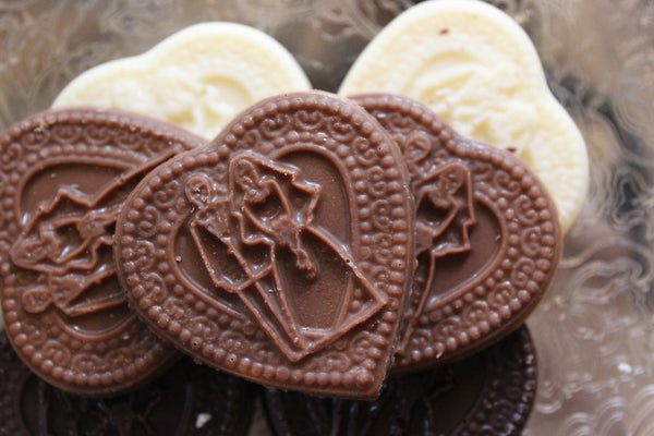 Chocolate Hearts With Bride And Groom Stamp