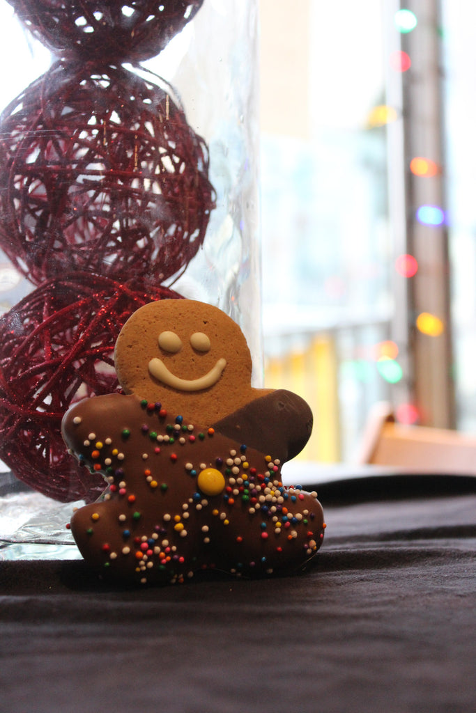 Gingerbread Man Dipped In Chocolate