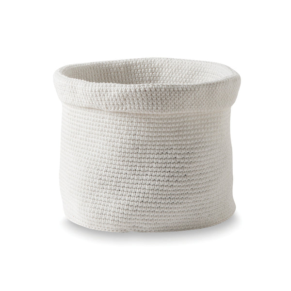 Basket - Crochet Round - White