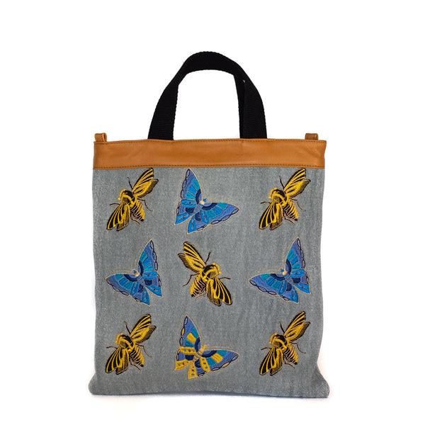 Maria La Rosa / Bees and Butterflies Shopper, Grey Blue