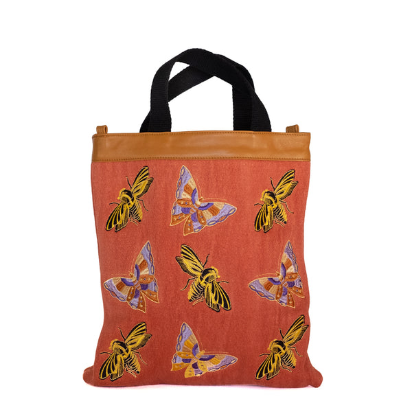 Maria La Rosa   / Bees and Butterflies Shopper, Coral